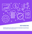 seo marketing poster in line style with place vector image