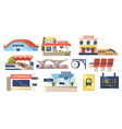 set icons railway station building plastic vector image vector image