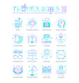 set line flat icons future technologies vector image