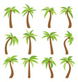 set of sixteen different cartoon palm trees vector image vector image