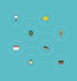 set of workspace icons flat style symbols with vector image vector image
