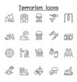 set terrorism related line icons contains such vector image vector image