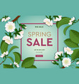 spring sale floral banner with blooming cherry vector image vector image