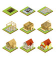 stages of house construction isometric 3d set vector image vector image