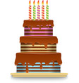 three-tiered chocolate cake with candles vector image