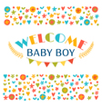 Welcome baby boy Baby boy shower card Announcement vector image
