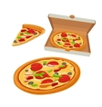Whole pizza Mexican in open white box and slice vector image vector image