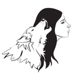 Woman and wolf vector image vector image
