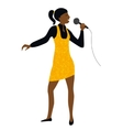 Woman sing into microphone vector image vector image