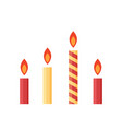 flat colorful burning candles set isolated on vector image