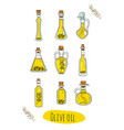 9 isolated doodle olive oils in cute bottles vector image