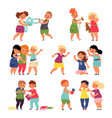bad good kids cartoon children happy brother vector image vector image