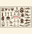 big set design elements for nautical emblems vector image