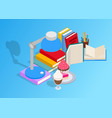 book day art isometric style vector image vector image
