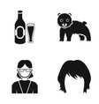 bottle of beer bear and other web icon in black vector image