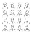 businessman and businesswoman line icon set on vector image