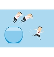 Businessmen jumping out of fish bowl vector image