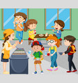 children eating lunch in cafeteria vector image