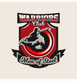 colorful logo emblem a ninja holding a katana in vector image vector image