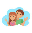 couple younger man and woman waving his hand in vector image vector image