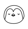 cute penguin face cartoon character on white vector image