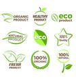 eco organic product logo icons photo realistic vector image vector image