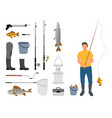 fisherman with rod and catch vector image vector image