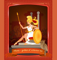 flat cartoon athena goddess victorious war vector image vector image