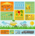 Garden work infographic elements Working tools set vector image