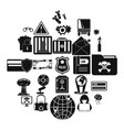 genius icons set simple style vector image vector image