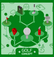 golf color isometric concept icons vector image vector image
