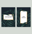 green palm leaves with white golden border frame vector image vector image