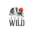 hand drawn wilderness badge with mountain vector image vector image