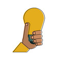 hand holding lightbulb idea concept icon image vector image vector image