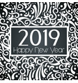 happy 2019 year with ornamental decoration vector image vector image