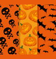 happy halloween celebration set patterns vector image