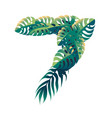 leaf number 7 with different types green vector image vector image
