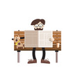 man reading newspapers on bench with dog retro vector image