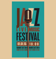 music poster for jazz festival with microphone vector image vector image