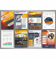 orange and grey brochure template with vector image vector image