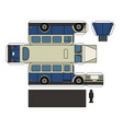 paper model of a vintage blue cream bus vector image vector image