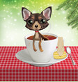 puppy chihuahua in a cup with tea vector image