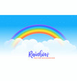 rainbow and clouds background design vector image vector image