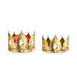 realistic king and queen crowns 3d golden royal vector image