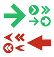 red and green arrows icons set vector image