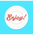 red enjoy text like sauce on white plate vector image vector image