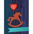 Rocking horse with a heart shaped balloon vector image vector image