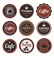 Set of vintage coffee badges and labels