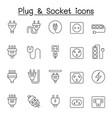 set plug related line icons contains such vector image vector image