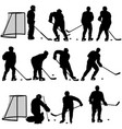 set silhouette of hockey player on white vector image vector image